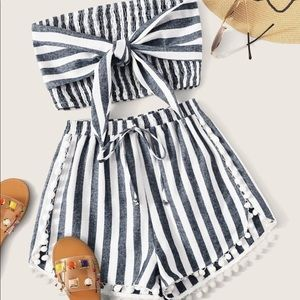 Tie Front Shirred Bandeau Top & Pom Trim Co-Ord